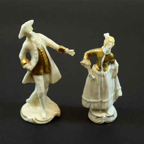 Man and Woman German Porcelain Figurine Set of 2 with Gold Accents