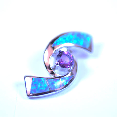 Sterling Silver Amethyst and Opal Spiral Pendant