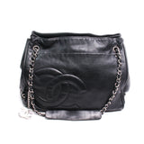 Chanel Black Lambskin Diagonal CC Ligne Accordion Tote
