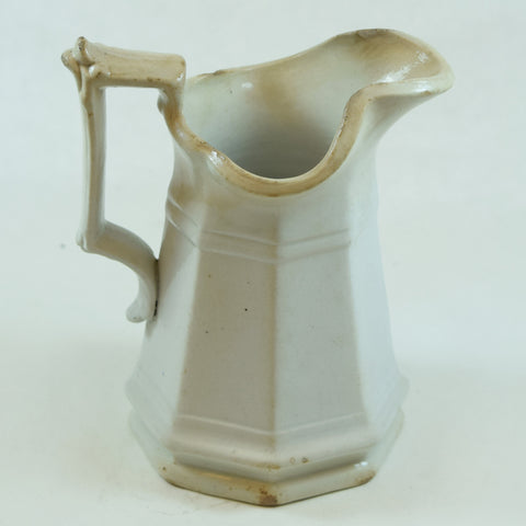 Wm Adams & Sons White Ceramic Pitcher with Angular Handle, 6""