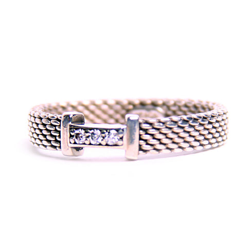 Tiffany & Co. 3 round Diamond Sterling Mesh Ring