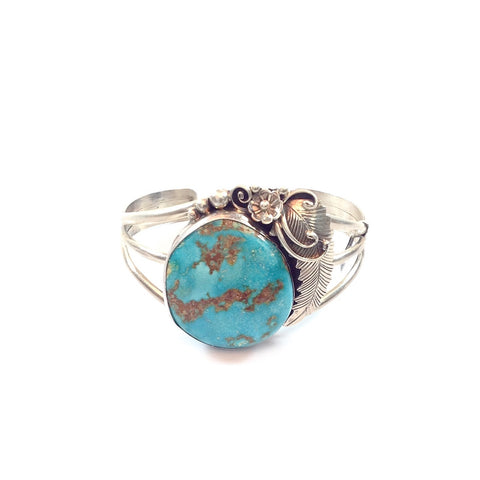 Native Signed Sterling Turquoise Cuff Bracelet