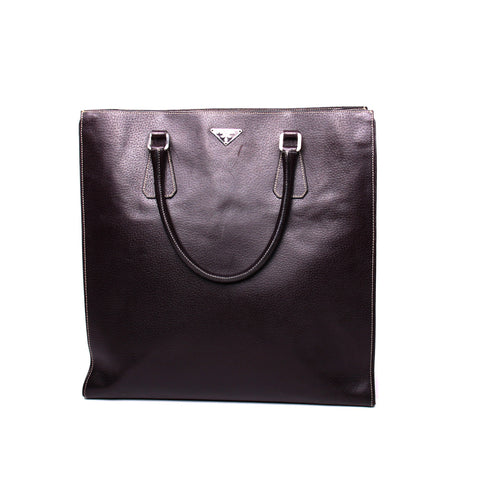 Prada Brown Large Leather Open-Top Shopper Tote