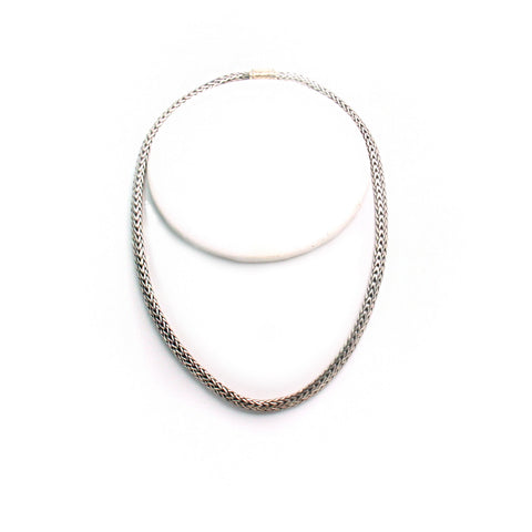 "John Hardy Mesh Sterling Silver 18kt Gold 15.5"" Necklace"
