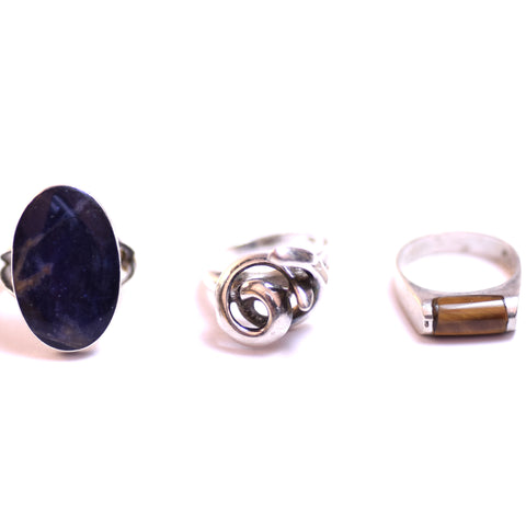 Sterling Silver Blue Agate and Tigers Eye Ring Set of 3