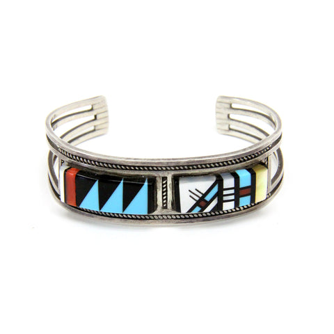 Sterling Silver Zuni Inlaid Turquoise, Onyx and Coral Cuff Bracelet