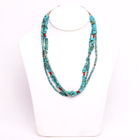 Southwestern 3-Strand Turquoise & Coral Necklace