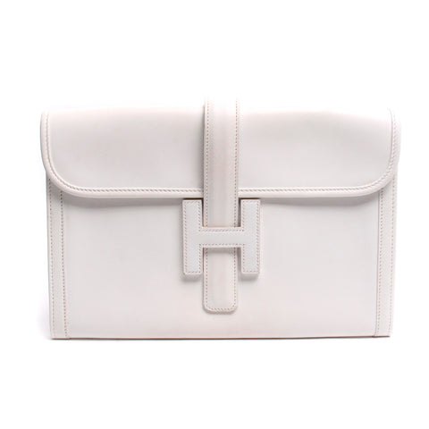 Hermes Vintage 29cm White Swift Jige PM Clutch