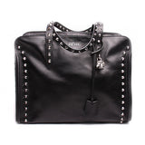 Alexander McQueen Black Studded Leather Skull Padlock Tote