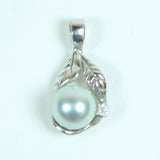 14 Karat White Gold Diamond and Pearl Leaf Jewelry Charm Pendant