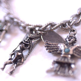 Sterling Silver Chain Charm Bracelet with 9 Pendants