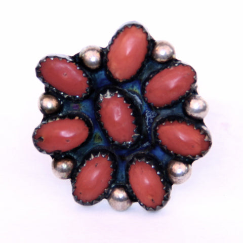 Native American/ Southwest Willie Mariano Silver and Coral Flower Ring