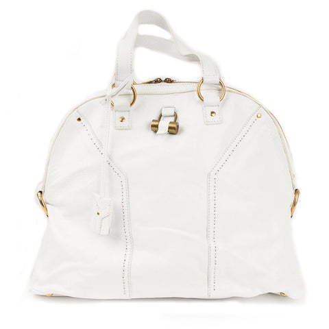YVES SAINT LAURENT Muse White Classic Leather Hobo