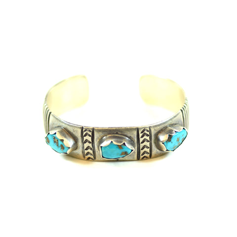JAe Signed Sterling Silver Native American Style Turquoise Cuff Bangle Bracelet