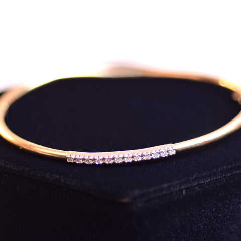 14 Karat Yellow Gold and White Stone Strip Two Tone Bangle Bracelet