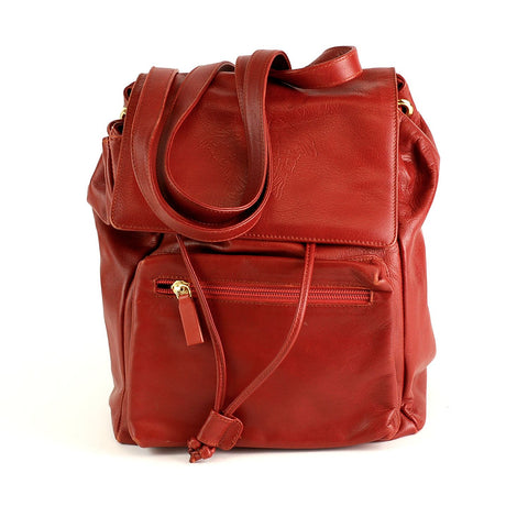 Gianni Versace Small Soft Deep Red Leather Backpack Bag