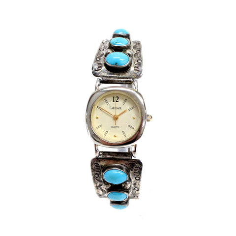 Sterling Silver Native American Turquoise Carriage Watch