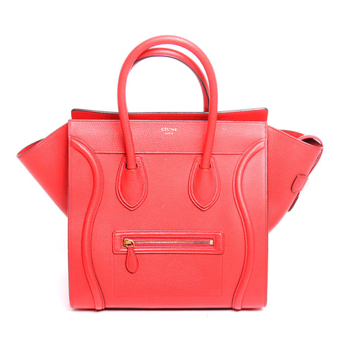 Authentic Celine Red Leather Mini Luggage Tote Bag