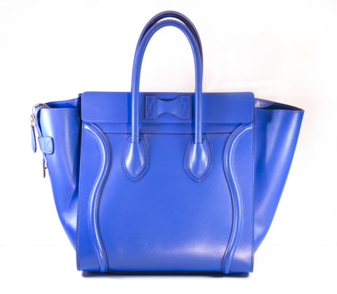 Authentic Celine Cobalt Leather Mini Luggage Tote Bag