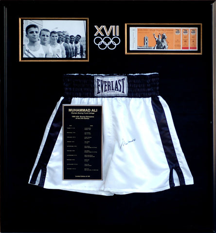 Muhammad Ali Opening Day Olympic Collage Commemorative Boxing Trunks & 1960 Olympics Ticket