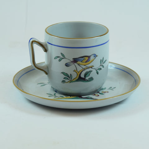 Spode Flat Demitasse Cup & Saucer Set in Queen's Bird (Fine Stone, Older)