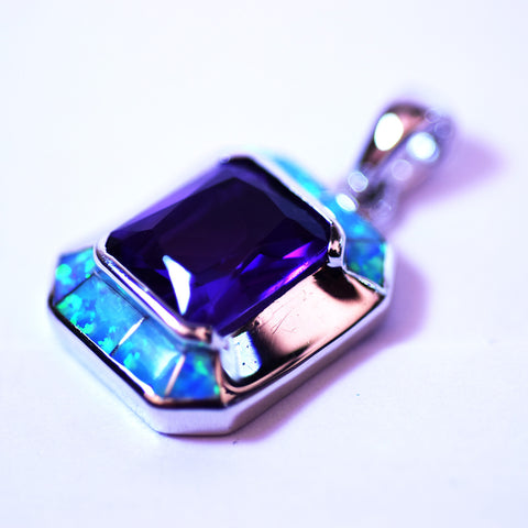 Sterling Silver Amethyst and Opal Square Pendant