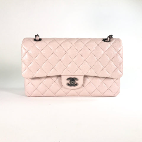 Vintage Chanel Light Light Pink Quilted Caviar Medium Classic Double Flap Bag
