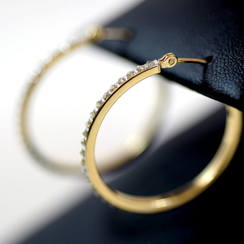 14 Karat Yellow Gold and White Cubic Zirconia SLC Hoop Earrings