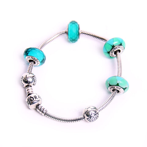 Pandora Sterling Silver Bracelet with Circular Turquoise Beads and Crystals