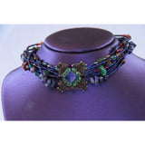 Sorrelli Multi Strand Beaded Swarovski Crystal Choker Necklace