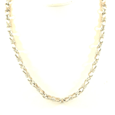 Sterling Silver Unisex Tie Link Chain Jewelry Necklace