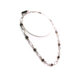 Judith Ripka Silver Smokey Quartz Amber Necklace Toggle 18.5""
