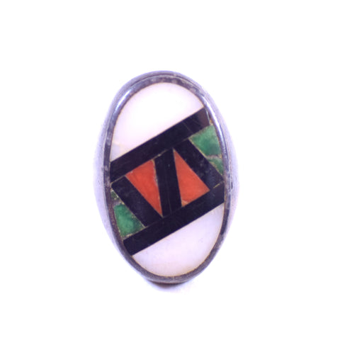 Sterling Silver Native American Style Multicolor Stone Inlay Ring, Size 10.5