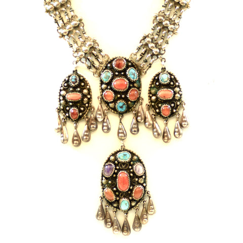 Sterling Silver Native American Style Multicolor Stone Necklace and Earring Set