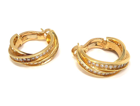 Cartier Trinity Womens 18K Yellow Gold Diamond Pave Hoop Earrings