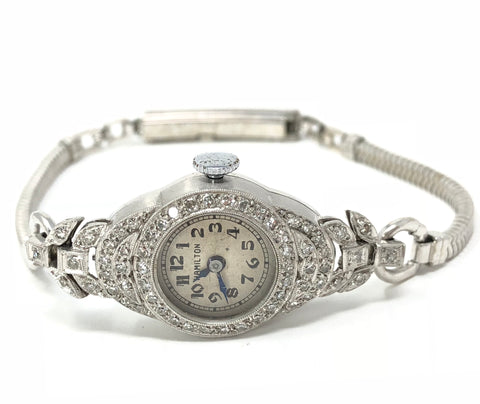 Vintage Hamilton Diamond .900 PT Ladies Watch