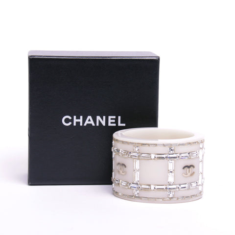 "Chanel White Crystal Resin Baguette ""CC"" Cuff"