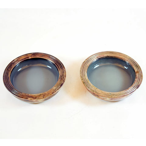Sterling Silver and Blue Gray Ceramic Trays / Dishes Set of 2