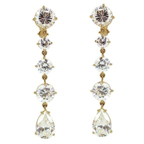 14K Yellow Gold & CZ Dangle Earrings