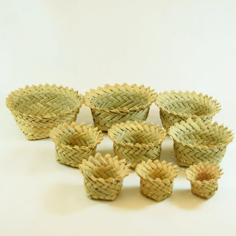 Multiple Woven Circular Nesting Baskets Set of 9