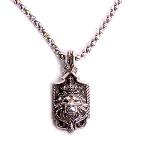 Mens Byzantine Link Necklace with Night Rider Royal Blood Lion Pendant
