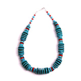 "Heishi 19"" Turquoise Disc Necklace and Matching Earrings"