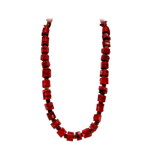 Chunky Coral Square Beads Necklace