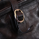 Burberry Brown Black Pebbled Leather Bowling Bag Purse