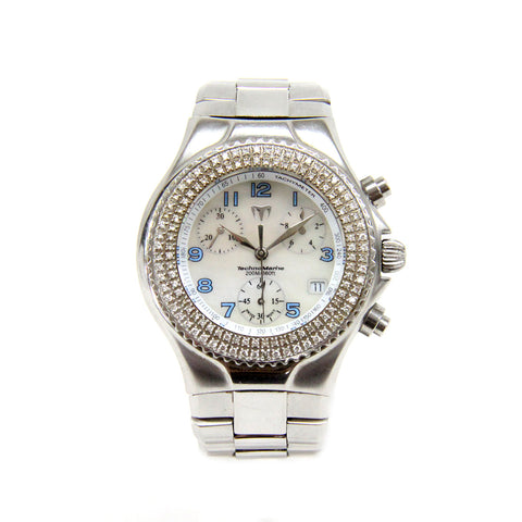 Stainless Steel Technomarine Mother of Pearl and Diamond Bezel Watch