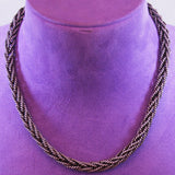 Sterling Silver Weave Toggle Necklace