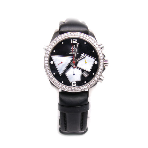 Jacob & Co Chronograph Watch with Diamond Bezel and Black Rubber Wristband