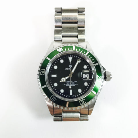 Authentic Men's Steinhart Ocean One Green Diver Watch Swiss Automatic Movement