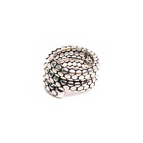 John Hardy Kali Collection Dot Double Silver Sterling Coil Ring