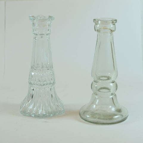 Two Made in Canada Clear Crystal Glass Vases